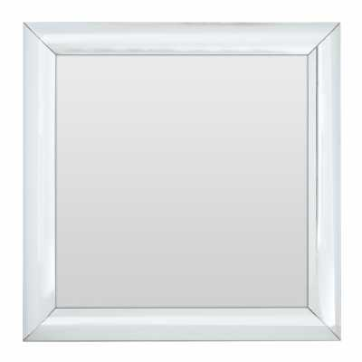 Modern Square Wall Mirror with Mitred Thick Silver Frame