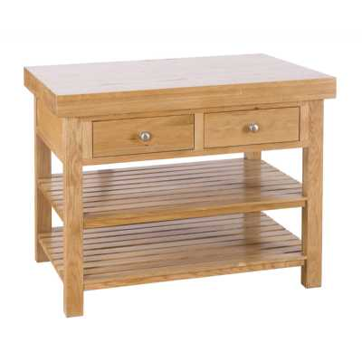 Rectangular oak Island with 2 Drawers And 2 Shelves Freestanding Kitchen Storage