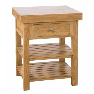 Modern Oak Square Island with 1 Drawer and 2 Shelves Solid Butchers Block Island