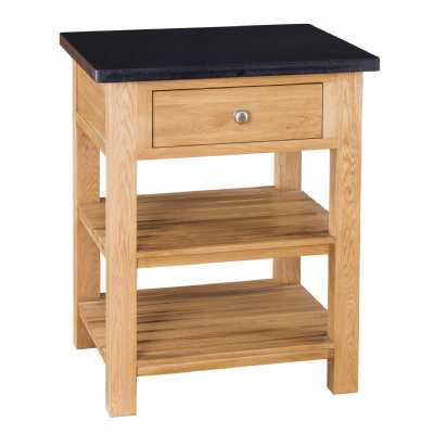 Evelyn Square Granite Island with 1 Drawer 2 Shelves