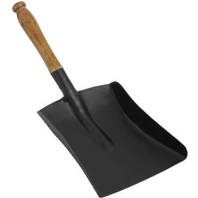 Black Shovel with Wooden Handle