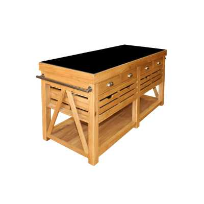 Black Granite Top Oak Kitchen Island with 12 Drawers and Storage Shelf