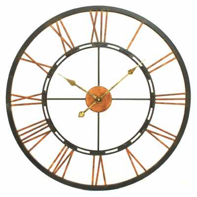 Black and Copper Large Round Metal Skeletal Industrial Wall Clock Roman Numerals 70cm Diameter