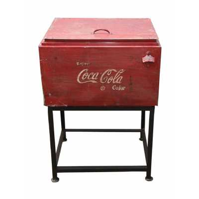 Antique Carnival Vintage Metal Red Finish Coca Cola Wine Cooler Box on Stand