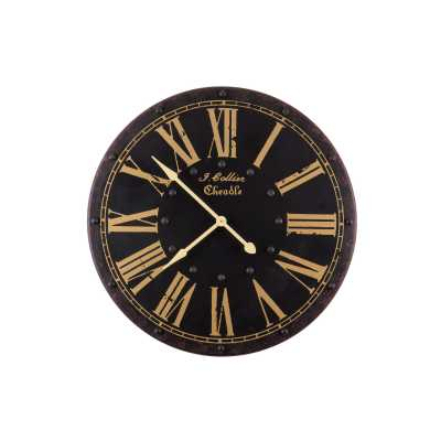 Vintage Clocks And Accessories Black and Cream Round Roman Numerals Clock
