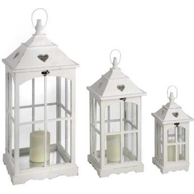 Set of 3 White Painted Wooden Glass Lanterns with Heart Cutout Detailing