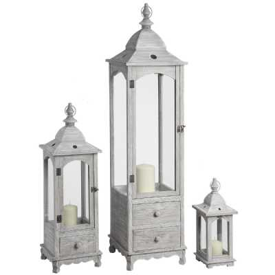 Set of 3 Grey Wash Wooden Glass Floor Standing Lanterns with Drawers