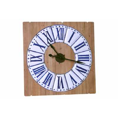 Vintage Clocks And Accessories Square Blue and White Clock on Wooden Panelling
