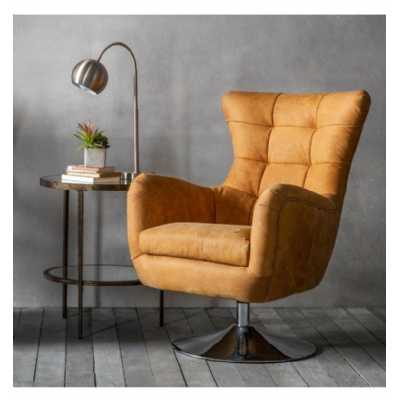 Saddle Tan Leather Upholstery Swivel Chair on Round Chrome Base Contemporary Style 69 x 77 x 95cm
