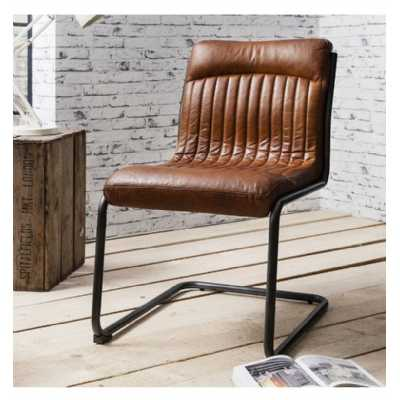 Industrial U Shaped Metal Frame Capri Dining Room Leather Chair In Antique Tan