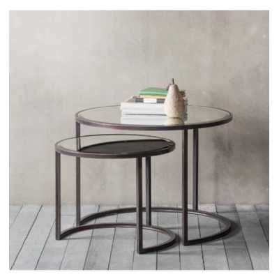 Stylish Glass And Metal Round Nest Of Coffee Tables With Black Metal Base 800mm