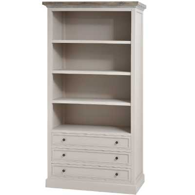 The Studley Collection Mushroom Grey Wood Large Three Drawer Bookcase
