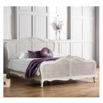 Traditional 150cm 5ft King Size Cane Bed Frame Mindy Ash Painted Vanilla Finish