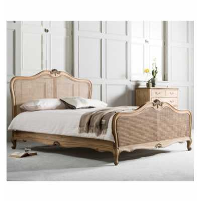 Traditional Ornate Carved Solid Wood 150cm 5ft King Size Cane Bed Mindy Ash Weathered Finish