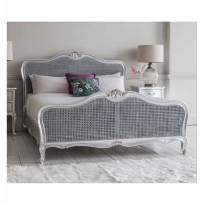 Chic Mindy Ash Wood Silver Finished Cane 6ft Super King Size Bed