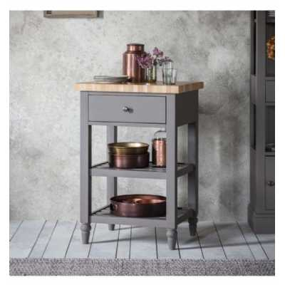 Modern Grey Painted Kitchen Butchers Block Side Table 1 Drawer 2 Shelves Solid Wood Top 50x60x90cm