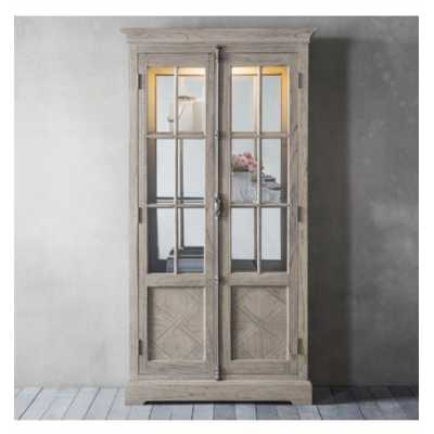 Mustique French Style Mindi Wood 2 Glass Door Living Room Display Cabinet With Inlay Parquet Design