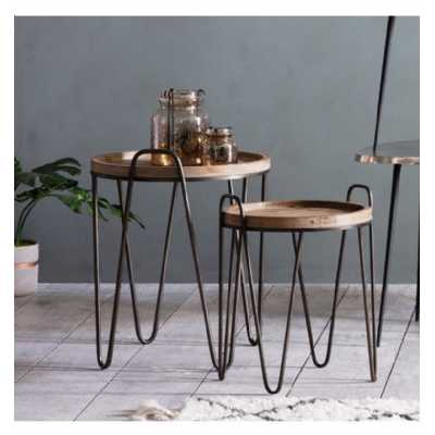 Industrial Style Firwood Round Nest Of 2 Tables Black Hairpin Metal Legs Tray Tops 50cm Diameter