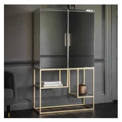 Mirrored Glass 2 Door Cocktail Drinks Cabinet Champagne Gold Open Base 90 x 40 x 160cm