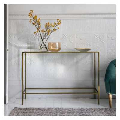 Large Oval Bronze Finish Metal Console Hall Table Tempered Glass Top and Mirrored Shelf 110 x 76cm