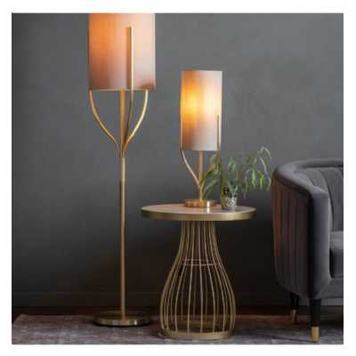 Contemporary Style Gold Twist Round Floor Standing Living Room Lamp