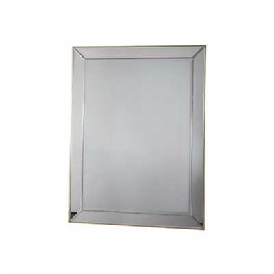 Venetian Style Rectangular Wall Mirror With Gold Piping 795mm