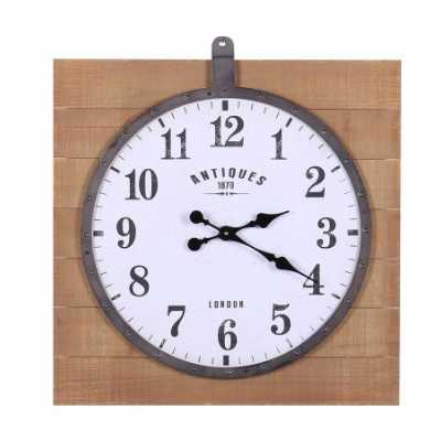 Vintage Style Clocks And Accessories Black Iron Metal Framed White Dial Clock Hung on Square Wooden Panelling 65x60.5x5.8cm