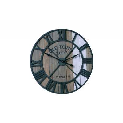 Vintage Clocks And Accessories Round Reclaimed Metal and Wood Clock