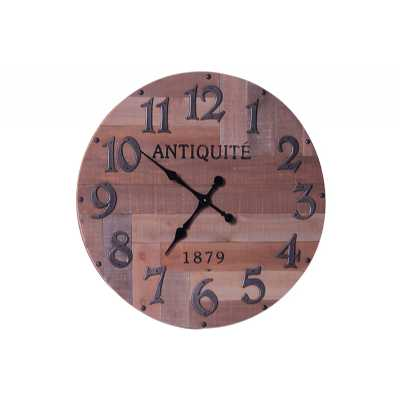 Vintage Clocks And Accessories Rustic Reclaimed Round Wooden Clock