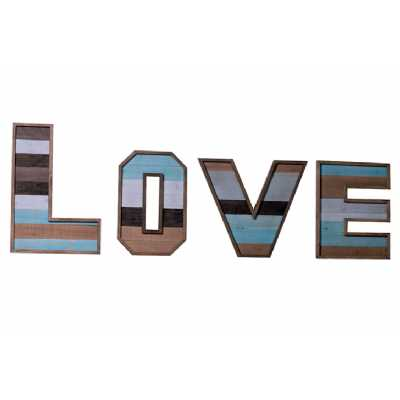 Vintage Clocks And Accessories Blue And White Wooden Love Sign