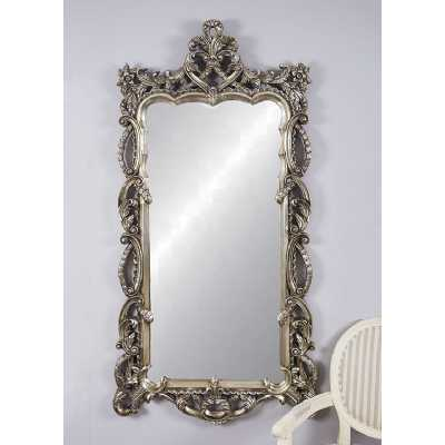 Silver Ornate Wall Mirror Decorative Rectangular Large Mirror