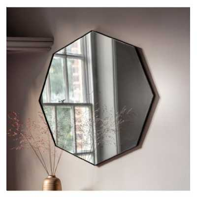Contemporary Octagon Simple Black Finish Metal Wall Mirror 80 x 2cm
