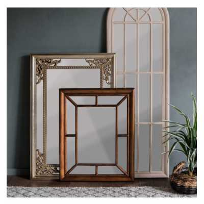 Contemporary Champagne Silver Rectangular Large Wall Mirror with Cutout Details 120 x 80 x 3.5cm