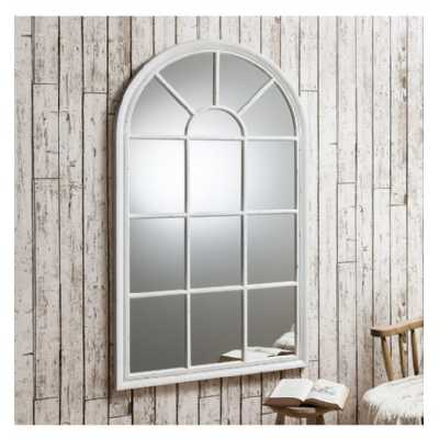 Large Panelled Window Wall Mirror Light Crackle Texture Distressed 140 x 80cm