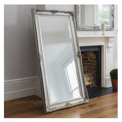 Solid Wood Framed Silver Finish Extra Large Leaner Rectangular Wall Mirror 85 x 172cm