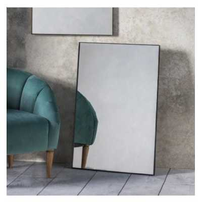 Simple Contemporary Black Finish Metal Framed Rectangular Wall Mirror 90 x 60 x 3cm