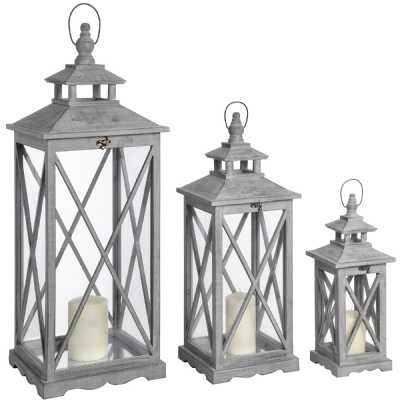 Set Of Three Grey Wash Wooden Lanterns With Traditional Cross Section