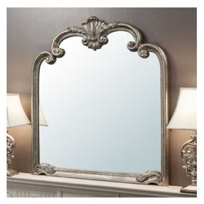 Large Stately Shaped Over Mantel Ornate Wall Mirror Silver Finish 104 x 116cm