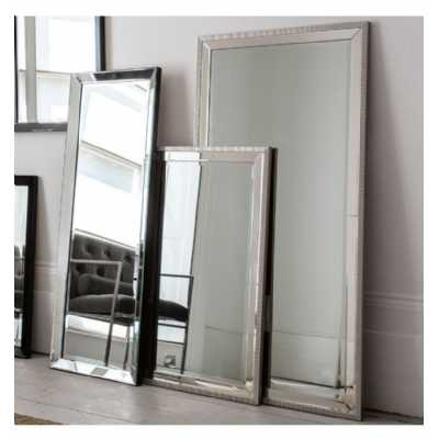 Contemporary Style Rectangular Silver Colour Leaner Cheval Floor Mirror 156 x 76cm