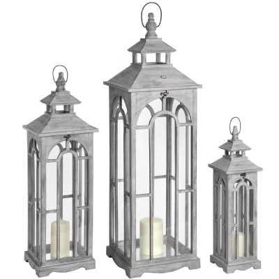 Set of 3 Grey Wash Wooden Glass Floor Standing Lanterns with Archway Design