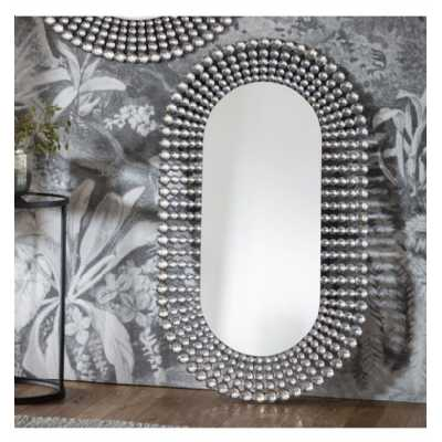 Contemporary Style Crystal Tiles Oval Shape Wall Mirror 121 x 70cm
