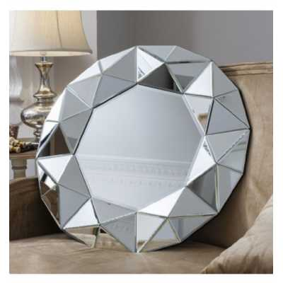 Contemporary Style Silver Colour Octagonal Round Wall Mirror With Geometric Detailing 70 x 70cm