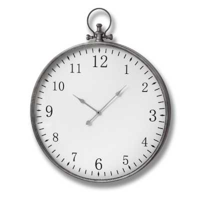 Silver Finished Metal Round Pocket Style Watch Wall Clock Transitional Glam Chic And Sleek