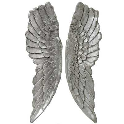 Pair of Antique Silver Large Angel Wings Wall Hanging Decoration 104 x 30cm