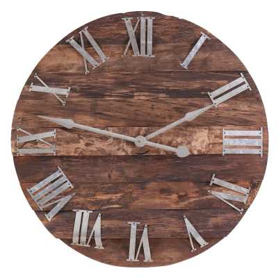 Vintage Clocks And Accessories Wooden Panelled Round Clock With Roman Numerals