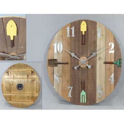 Vintage Clocks And Accessories Gardeners Round Wooden Clock