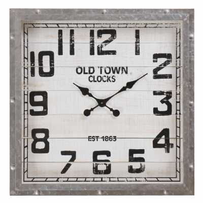 Vintage Clocks And Accessories Wooden Old Town Square Clock With Metal Frame