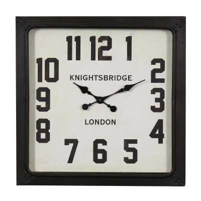 Vintage Clocks And Accessories Black Framed Square Knightsbridge Clock