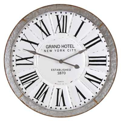 Vintage Clocks And Accessories Grand Hotel New York City Round Iron Clock With Roman Numerals