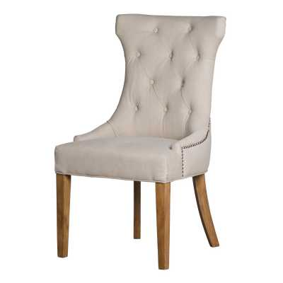 Cream Fabric High Wing Ring Backed Dining Chair with Light Wood Legs